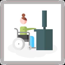 Wheelchair user working on computer